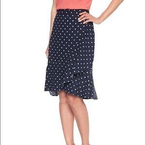Polka Dot Ruffle Pencil Skirt